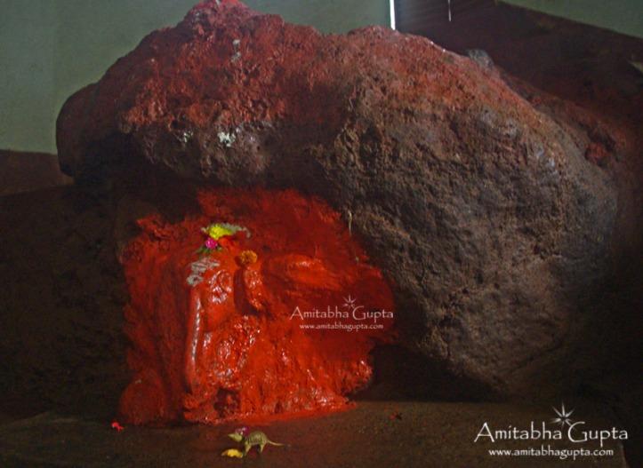 Rock Cut Swambhu Ganesh Statue  inside the temple, Amboli