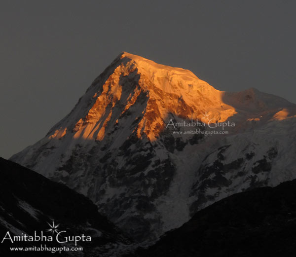 First Ray of Sun on Mt Rathong  as seen from Dzongri Top