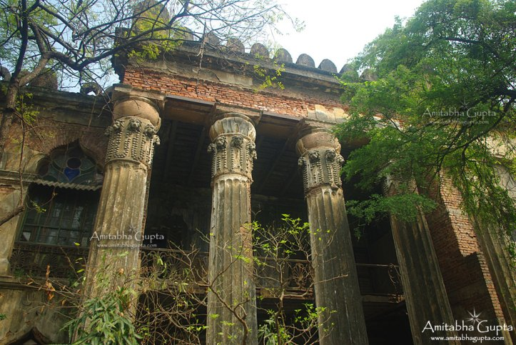 The pillars with lions heads on them at Basu Bati