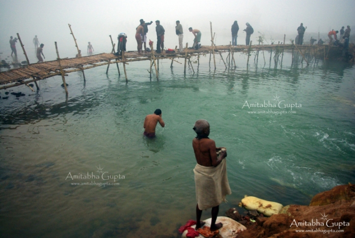 Makeshift bridges over river Ajoy for devotees