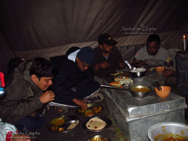 Having dinner in the warm Kitchen tents