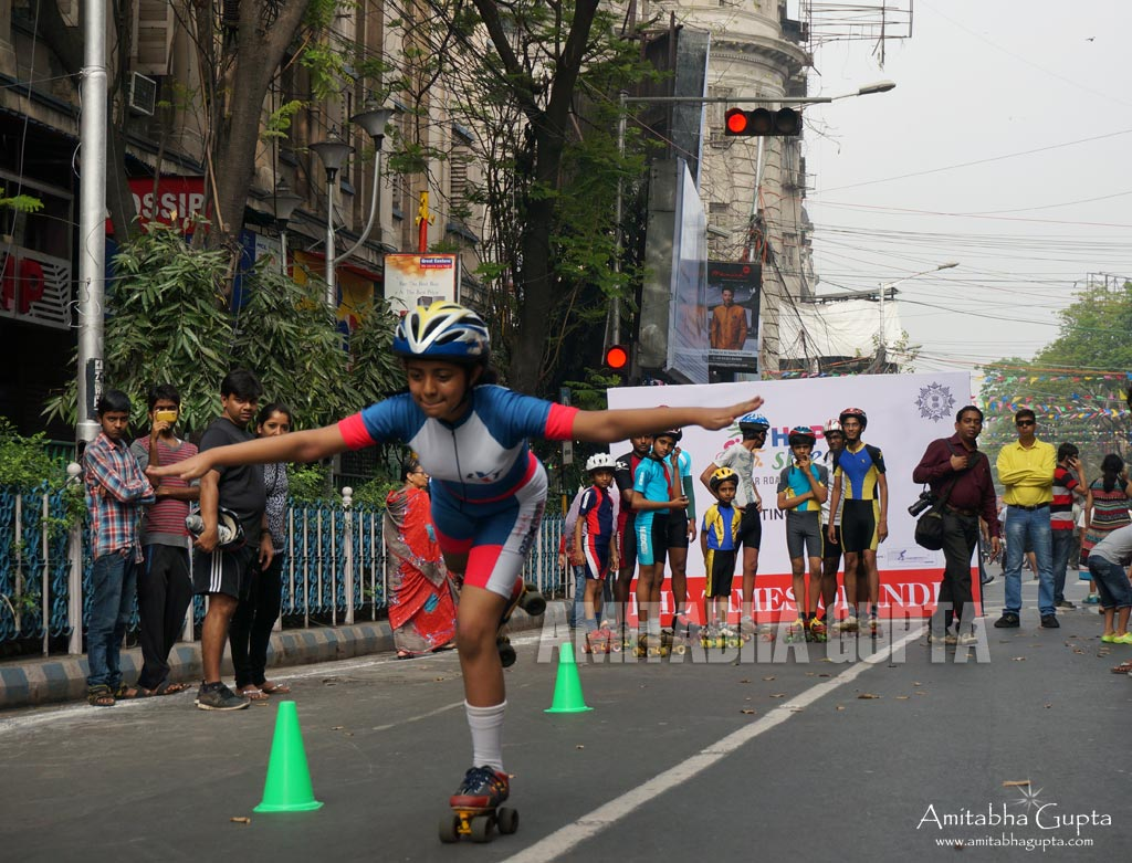 A Roller Skater testing her Balance