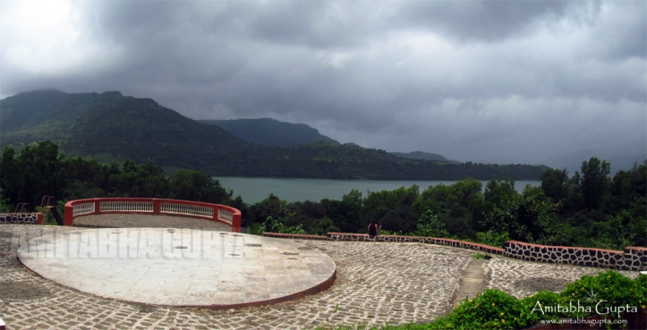 The wide courtyard of Paradise Cafe overlooking Mulshi Lake